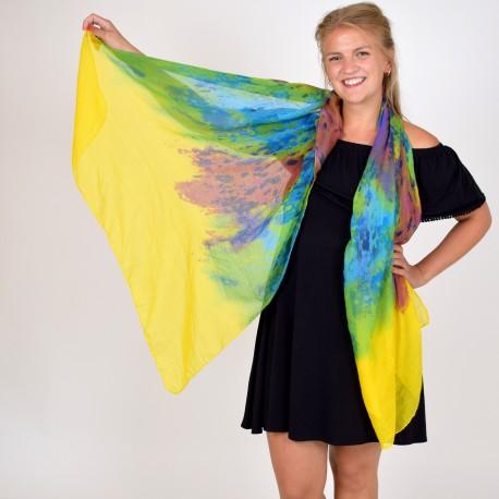 Spräcklig färgglad sjal, gul