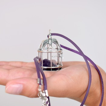 Necklace, birdcage with agate rocks