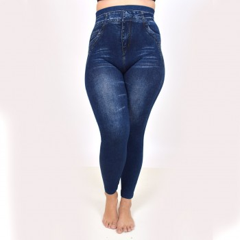 Värmande jeansleggings, M-2XL
