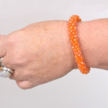 Armband med glaspärlor, orange