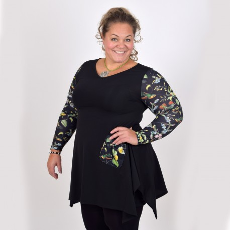 Svart tunika med mönstrade ärmar, LAURA