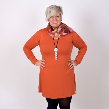 ANNIKA, basic tunic with V-neck, orange