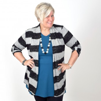 Cardigan, black and grey