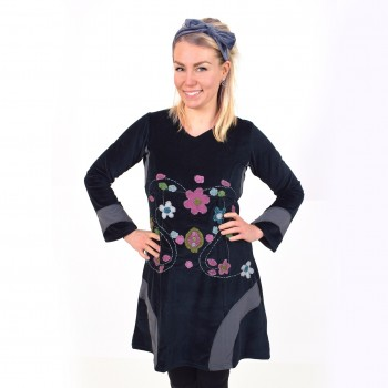 Velvet dress, hand crafted in Nepal, Edith
