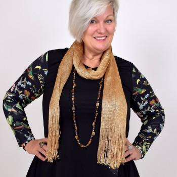 Enfärgad sjal med fransar och glitter