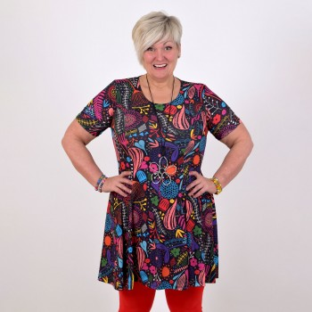 Colourful patterned dress, ELINA Short sleeve