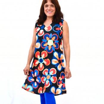 Värikäs mekko / tunika V-aukolla, FLORA