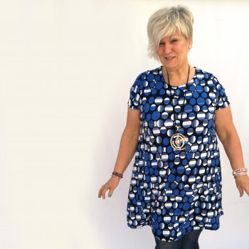 Blue patterned tunic with short sleeve, MARINA