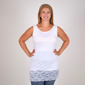 FANNI, white top with lace hem