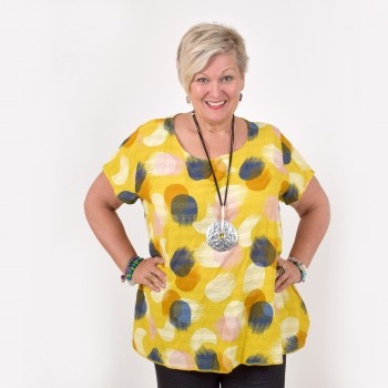 Blouse in cotton with big dots, SISSI