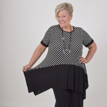 Black tunic with dots, BENITA