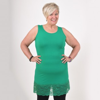 FANNI, green top with lace hem