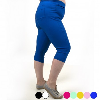 Stretch capri trousers with pockets