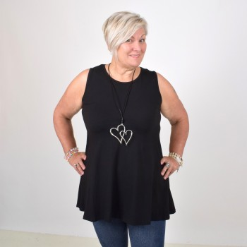 Sleeveless basic tunic, ANNA, petrol