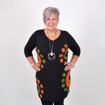 SONJA, tunic with playful pattern, orange/green