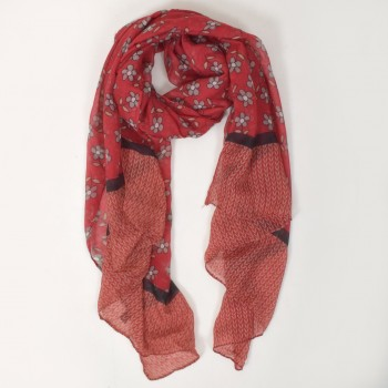 Scarf with flower print, many colors