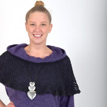 Black poncho AMALIA, hand crochet