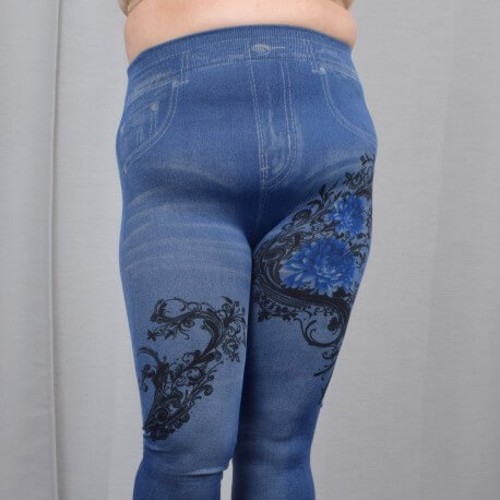 Jeans leggings with flower print