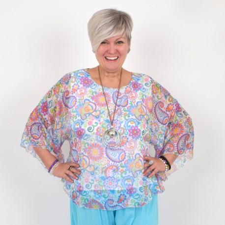 Chiffon blouse with trumpet sleeve, BIBBI
