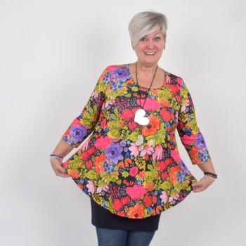 Kukkakuviollinen A-linjainen paita 3/4 hihalla, DORIS
