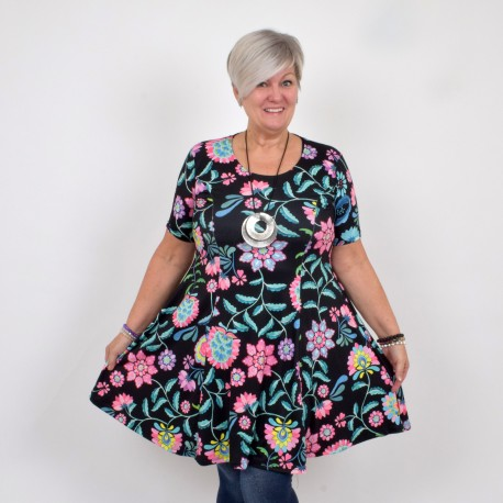 Floral dress with short sleeve, ELINA