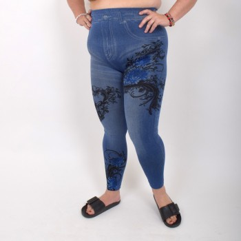 Jeans leggings with flower print
