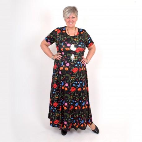 Long black floral dress, BEATA MAXI