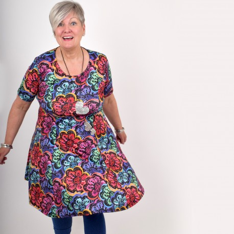 Floral dress with short sleeve, BEATA