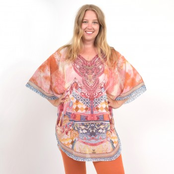 Patterned poncho with many details