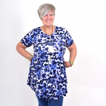 Flattering tunic with blue pattern, MICHELLE