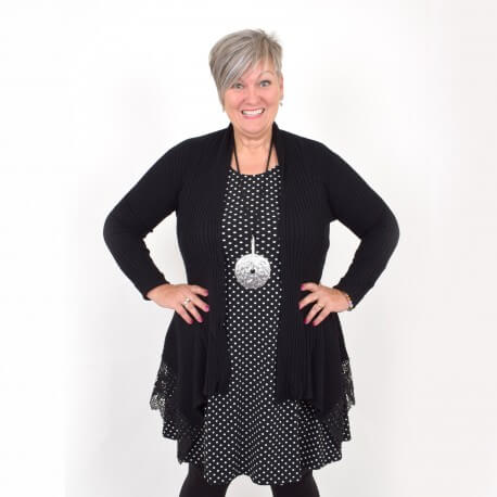 Knitted cardigan with lace