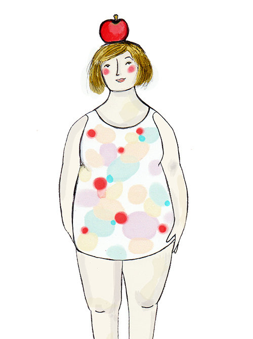 Apple shaped - I am wider around my middle section and my hips and shoulders are the same width.