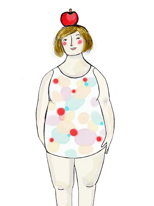 Omenan muotoinen vartalo - Hartiani ja lantioni ovat kutakuinkin yhtä leveät ja vyötärön kohdalta olen pyöreähkö.