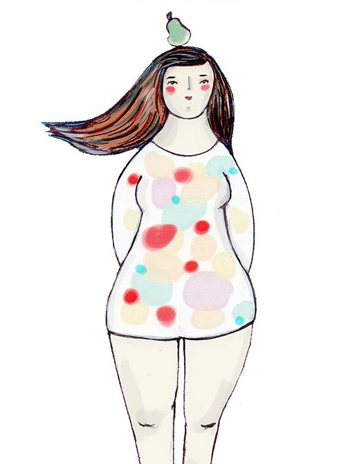 Päärynän muotoinen vartalo - Peppuni ja reiteni ovat täyteläiset ja vyötäröni on näitä kapeampi. Hartialinjani on selvästi alavartaloa kapeampi.